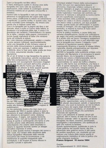 Type: una lezione di graphic design di Franco Grignani, Milano, 1984