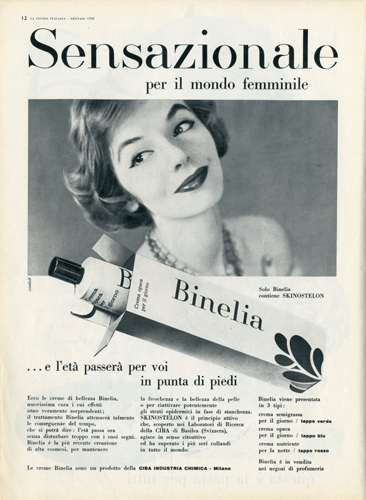 Franco Grignani, Ad for Binelia, 1958