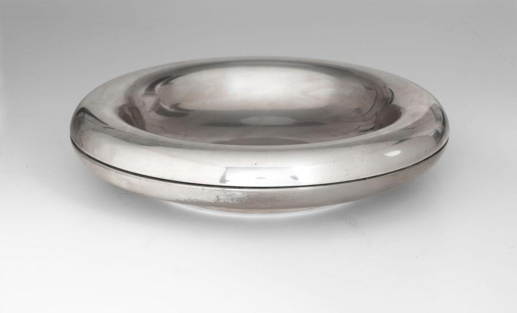 Franco Grignani, Centerpiece in silver metal for Bacci, 1973