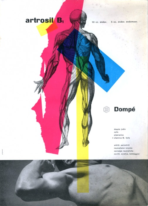 Franco Grignani, Ad for Dompé pharmaceutics, 1952