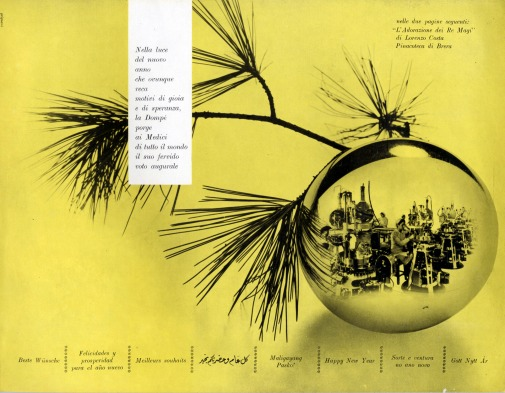 Franco Grignani, Ad for Dompé pharmaceutics, New year's greetings, 1956