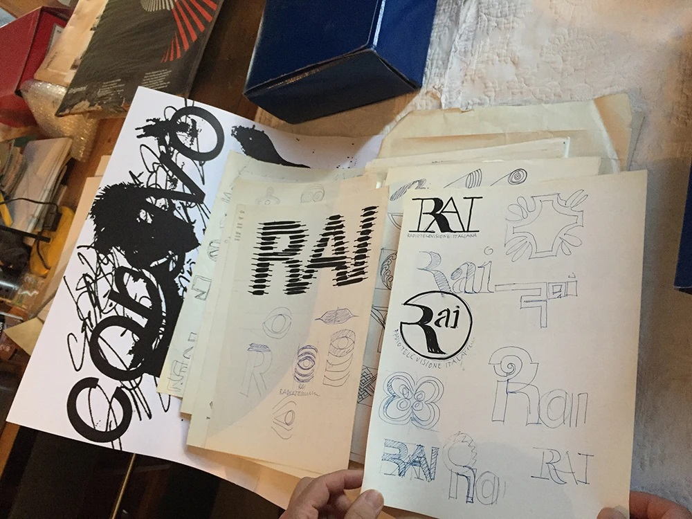 Franco Grignani, studies for RAI logo, 70s