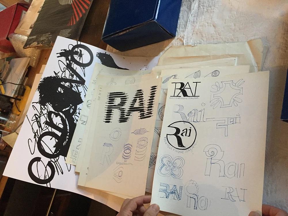 Franco Grignani, studies for RAI logo, 70s