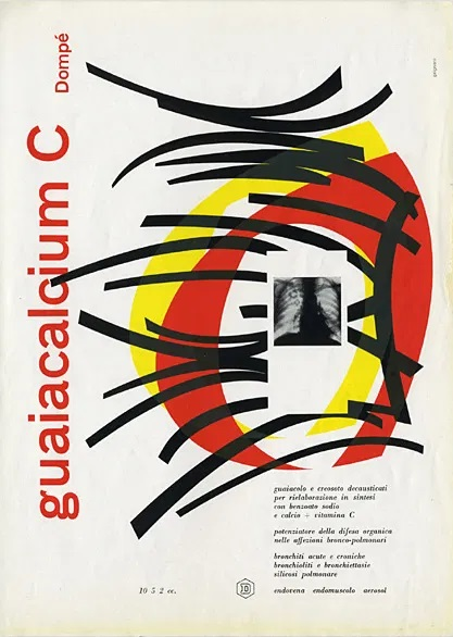 Franco Grignani, Ad for Dompé pharmaceutics, 1954