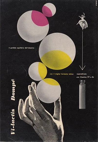 Franco Grignani, Ad for Dompé pharmaceutics, 1951