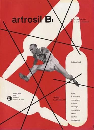 Franco Grignani, Ad for Dompé pharmaceutics, 1949
