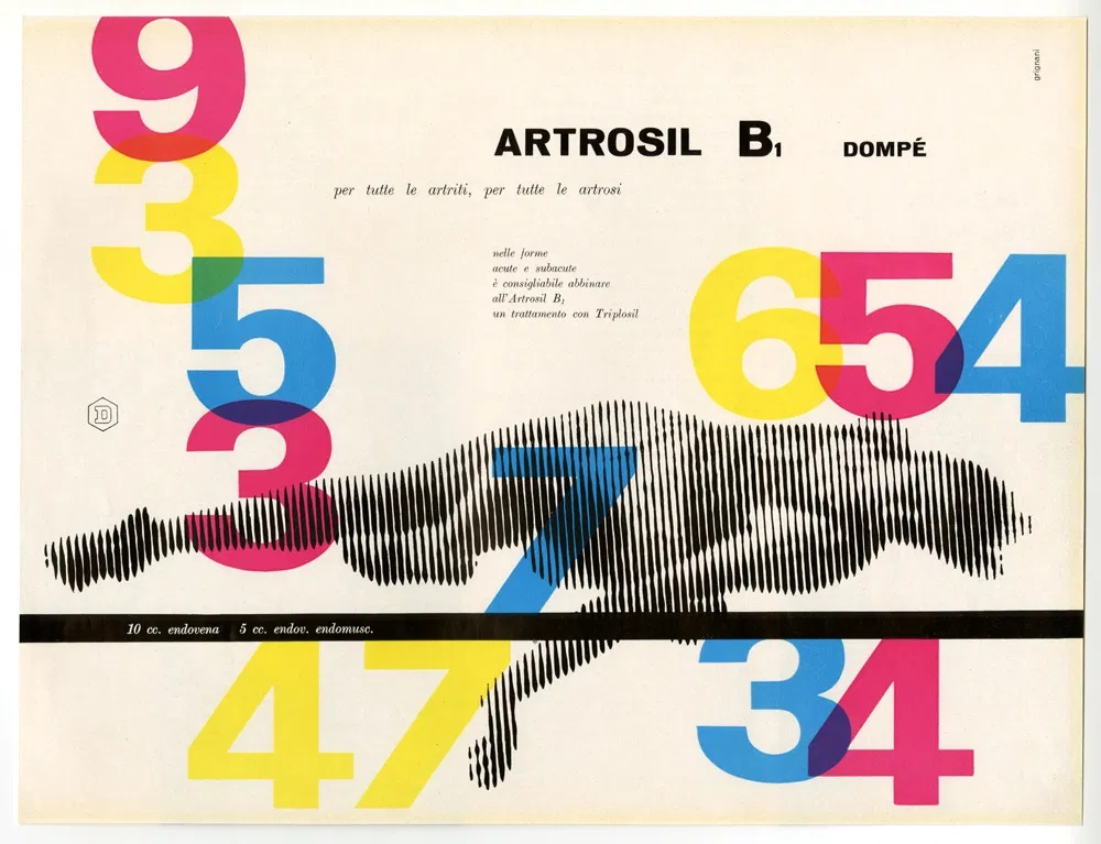 Franco Grignani, Ad for Dompé pharmaceutics, 1955