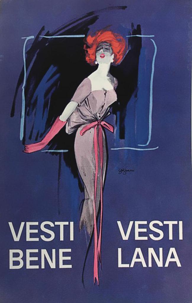 Jeanne Grignani, Ad for Dress well, dress in wool, 50s