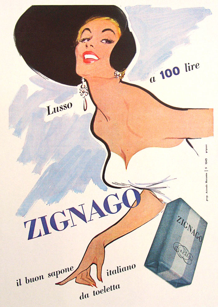 Jeanne Grignani, Ad for Zignago, 50s