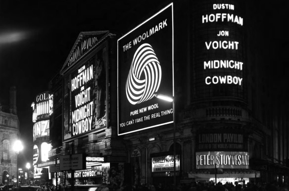 Woolmark Ad in London - Piccadilly Circus, 1969