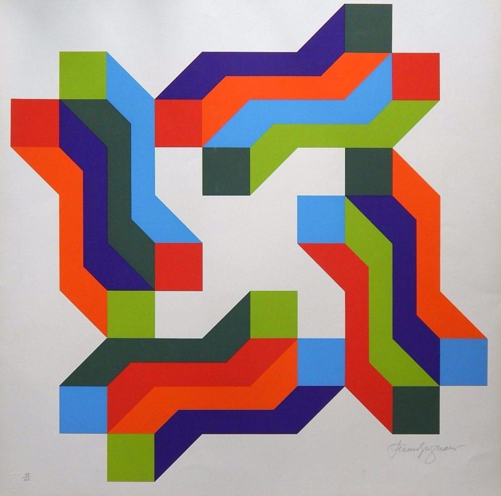 Franco Grignani, Perimetrale psicoplastico, Silk-Screen Print, 1976
