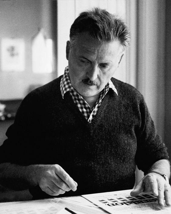 Franco Grignani at work at home