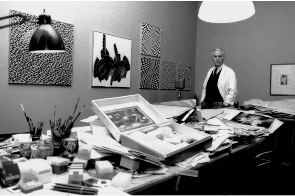 Franco Grignani in his studio, 1980s