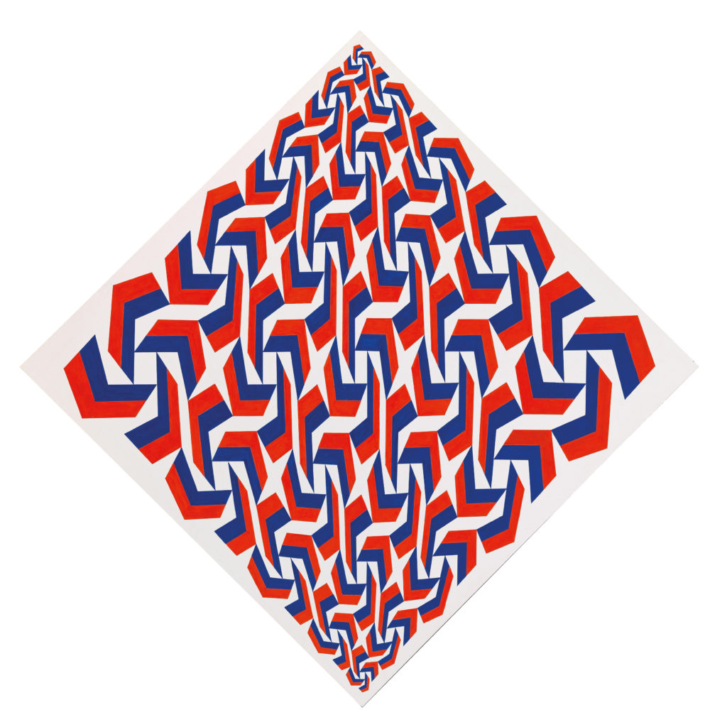 Franco Grignani, Multiplication Rhombus-Vertical in red and blue, 1989