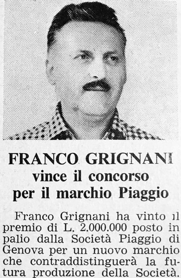Franco Grignani wins the contest for the Piaggio logo, 1966