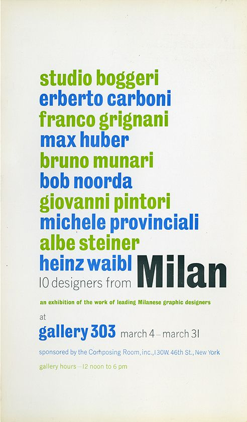 New York, Gallery 303, 10 designers from Milan, 1960