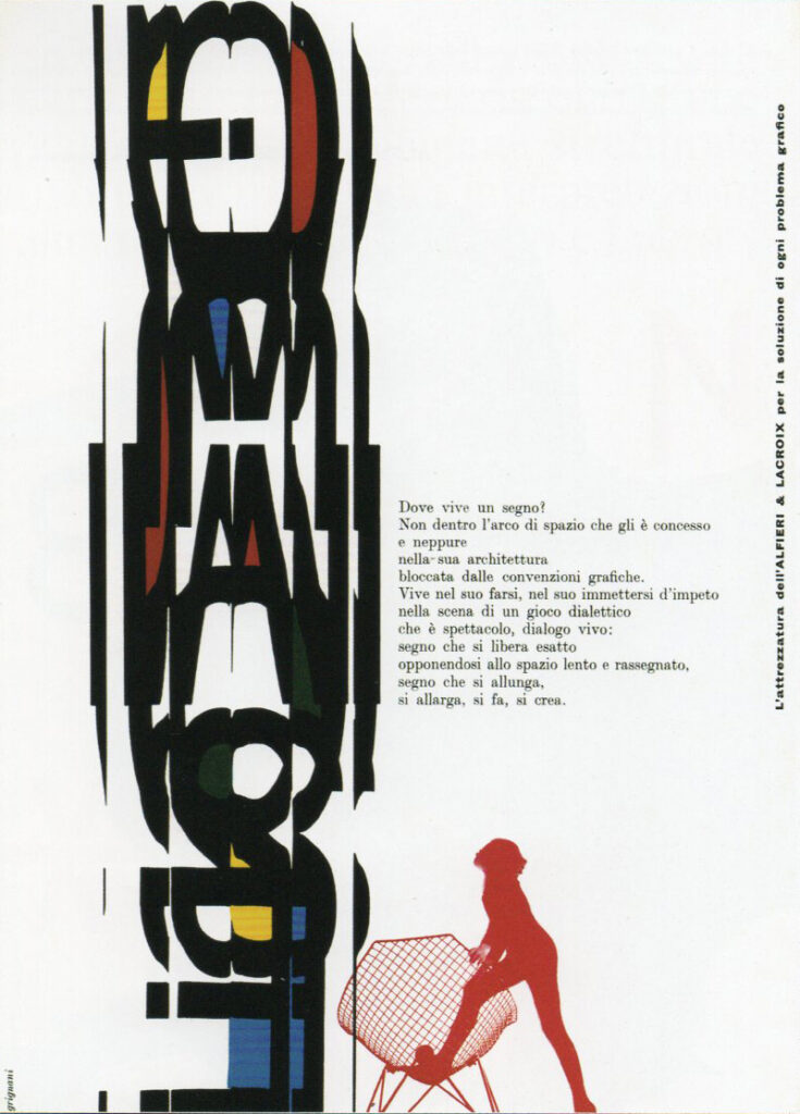 Franco Grignani, Ad for Alfieri & Lacroix, 1960
