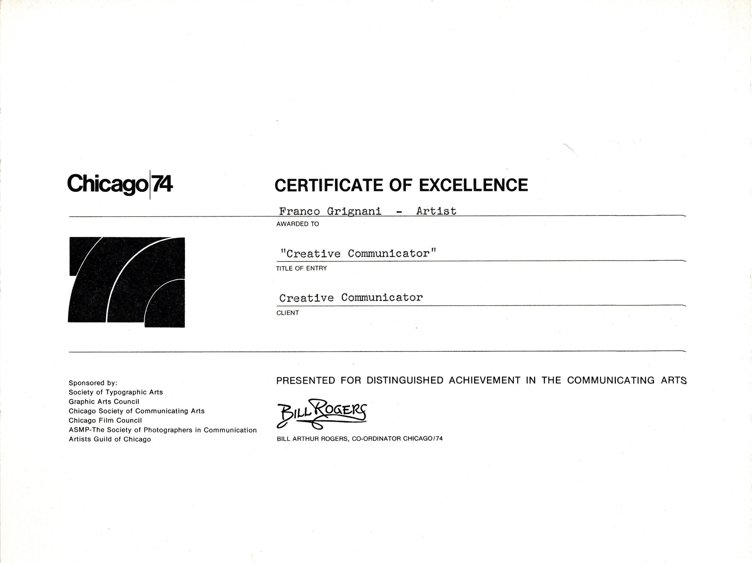 Franco Grignani, certificate of excellence, Chicago-74