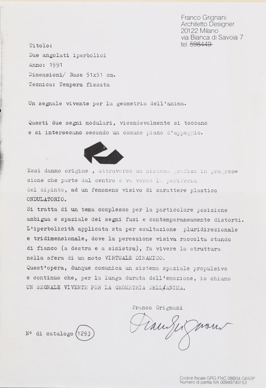 Franco Grignani, letter relating to the visual phenomenon of undulatory plastic character, 1991