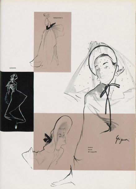 Jeanne Grignani, sketches for Bellezza d'Italia, 1949