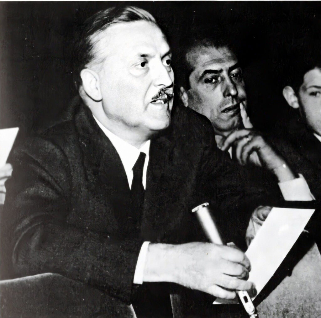 Franco Grignani intervenes at the first meeting with Nebiolo, 1965
