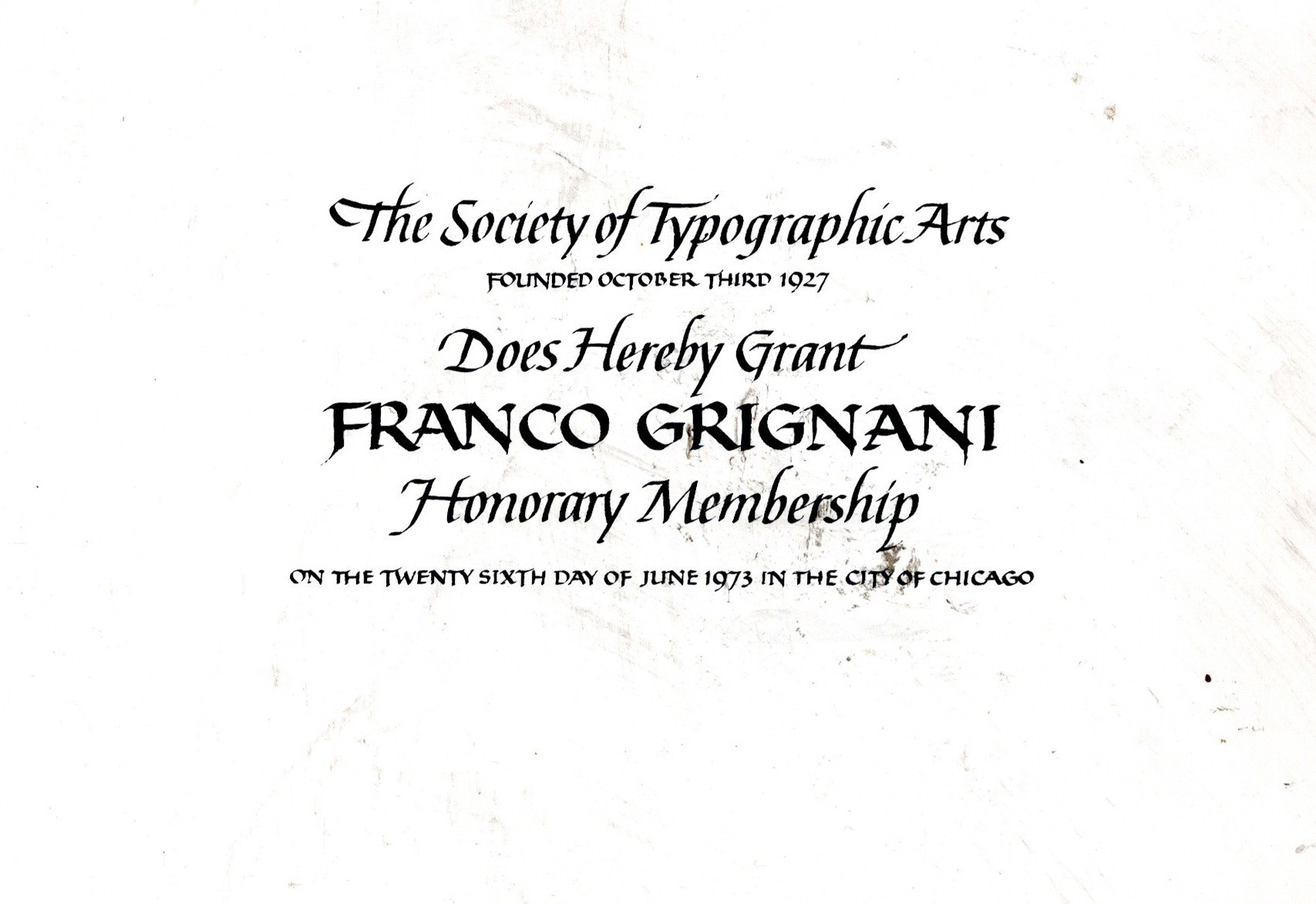 Franco Grignani, Honorary Member of the STA, 1973
