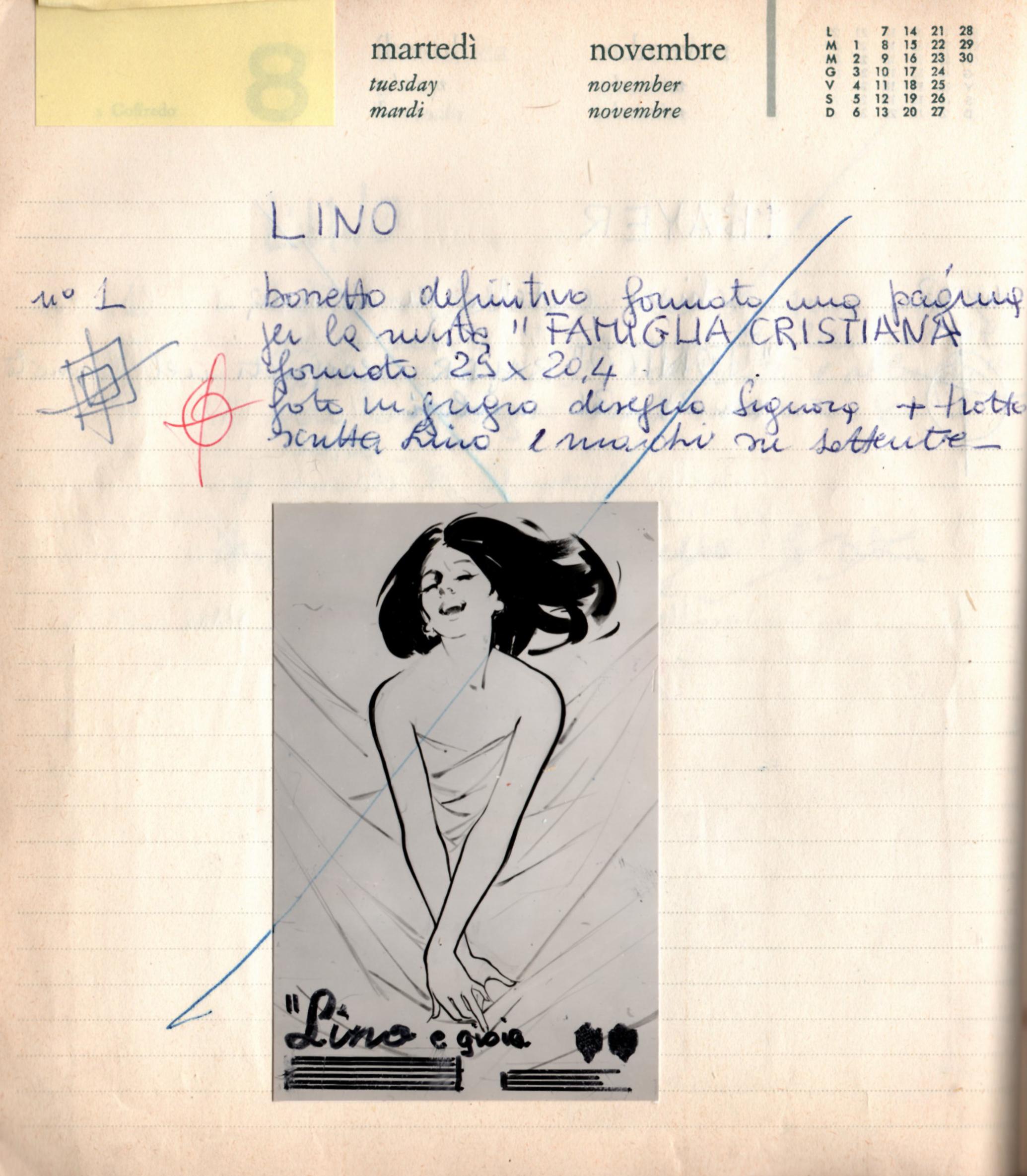 Franco & Jeanne Grignani, project sketch, 1964